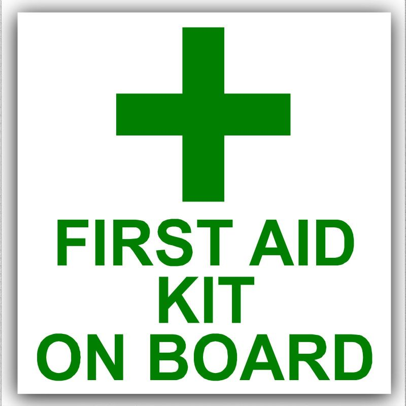 1 x First Aid Kit On Board-Sticker-Car,Van,Bus,Taxi,Cab,Mini,Lorry,Truck Sign